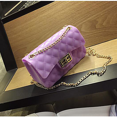 Women Shoulder Bag PU All Seasons Casual Outdoor Square Clasp Lock Black Purple Yellow