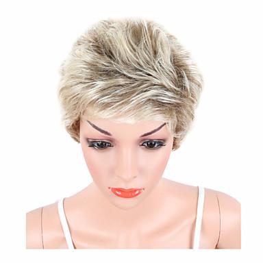 Kvinder Syntetiske parykker Lokkløs Kort Naturlige bølger Blond Pixiefrisyre Naturlig parykk costume Parykker