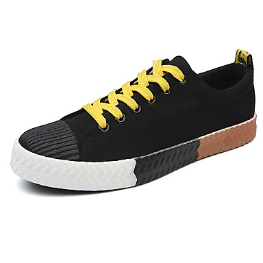 Men's Shoes Canvas Summer Fall Comfort Light Soles Sneakers Lace-up For Casual White Black