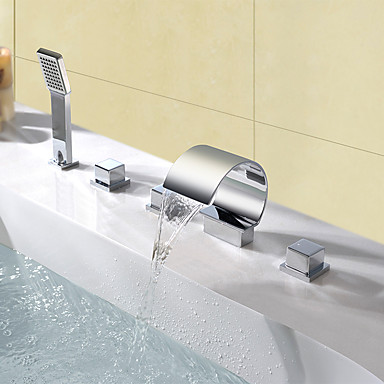 Contemporary Widespread Waterfall Handshower Included Brass Valve Three Handles Five Holes Chrome , Bathtub Faucet