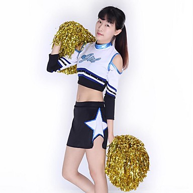 Cheerleader Costumes Outfits Women's Performance Knitwear Appliques 2 Pieces 3/4 Length Sleeve High Skirts Tops