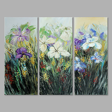 Hand-Painted Floral/Botanical Vertical, Artistic Canvas Oil Painting Home Decoration Three Panels