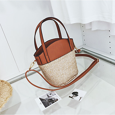 Women Bags All Seasons Straw Tote with for Casual Brown