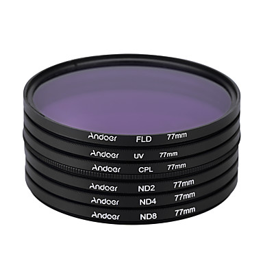 Andoer 77mm UV CPL FLD ND(ND2 ND4 ND8) Photography Filter Kit Set Ultraviolet Circular-Polarizing Fluorescent Neutral Density Filter