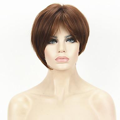 Cabelo Sintético perucas Reto Com Franjas Sem Touca Peruca Natural Curto Marrom