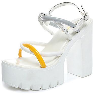 Mulheres Sapatos Couro Ecológico Verão Conforto Sandálias Caminhada Salto de bloco Ponta Redonda Presilha para Casual Branco Preto