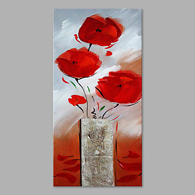 Hang festett olajfestmény Kézzel festett - Virágos / Botanikus Művészi Vászon