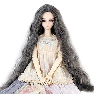 Cabelo Sintético perucas Crespo Cacheado boneca peruca Cinza