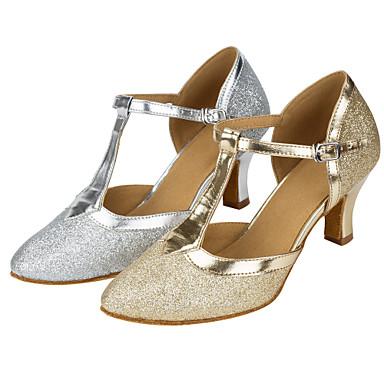 Mulheres Sapatos de Dança Moderna Gliter Sandália Lantejoula Salto Cubano Personalizável Sapatos de Dança Dourado / Prata / Espetáculo