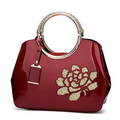 Women Bags PU Tote for Event/Party Casual Outdoor All Seasons Black Red Fuchsia Wine Blushing Pink
