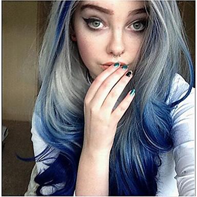 Synteettiset peruukit Laineita Liukuvärjätyt hiukset Sininen Naisten Lace Front Cosplay-peruukki Pitkä Synteettiset hiukset