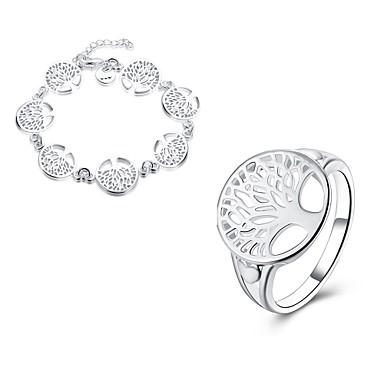 Dame Ring Armbånd Smykker Kobber Sølvplett Geometrisk Form Uregelmessig Livets tre Personalisert Geometrisk Unikt design Hengende dusk