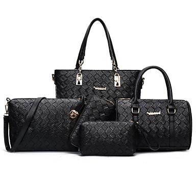 Women's Bags PU Bag Set 5 Pieces Purse Set Rivet Zipper for Event/Party Formal Office & Career All Seasons Black Purple Brown