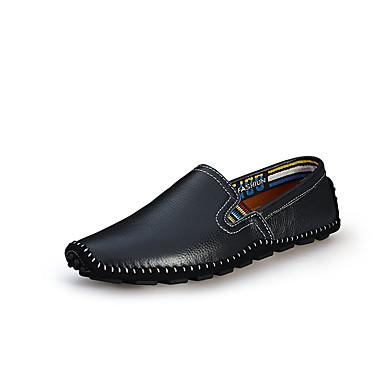 Homens sapatos Couro Ecológico Primavera Outono Solados com Luzes Conforto Mocassins e Slip-Ons para Casual Preto Bege Amarelo Marron Azul