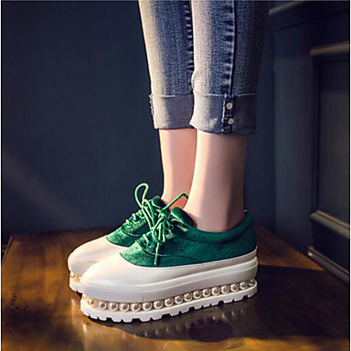 Dame Sko Syntetisk Mikrofiber PU Fleece Vår Komfort Flate sko Til Avslappet Rød Grønn Blå