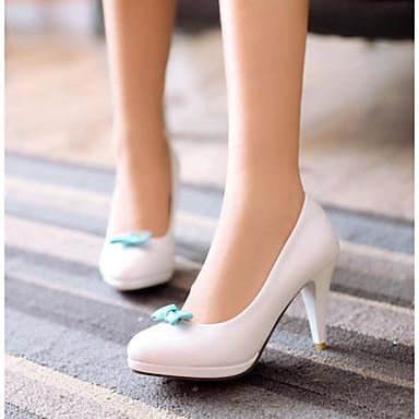 Naiset Kengät PU Kevät Comfort Korkokengät Käyttötarkoitus Kausaliteetti Valkoinen Pinkki