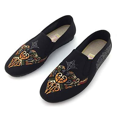 Homens sapatos Tecido Primavera Outono Conforto Mocassins e Slip-Ons Caminhada para Casual Ao ar livre Preto