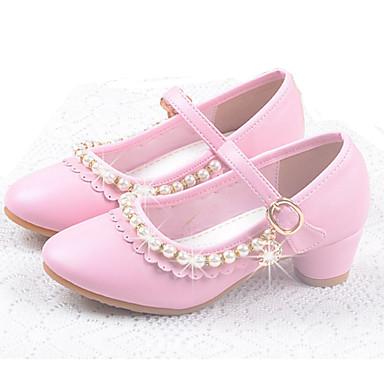 Para Meninas Sapatos Courino Verão / Outono Conforto / Sapatos para Daminhas de Honra Rasos Presilha para Branco / Rosa claro