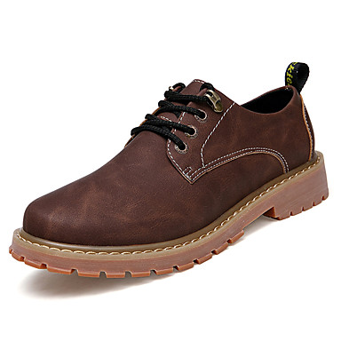 Men's Shoes Real Leather Cowhide Winter Fall Comfort Light Soles Oxfords Lace-up For Casual Party & Evening Outdoor Office & Career