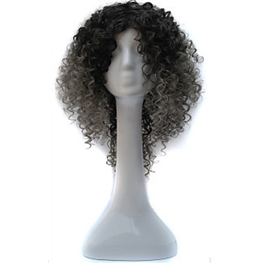african black wig head coat black gradient dark grandma gray small roll wig 18inch