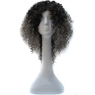 Mulher Perucas sintéticas Sem Touca Curto Médio Cinza Peruca Afro Americanas Para Mulheres Negras Peruca para Cosplay Perucas para