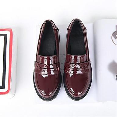 Women's Shoes PU Spring Comfort Loafers & Slip-Ons Chunky Heel Wedge Heel Stiletto Heel For Casual Black Burgundy