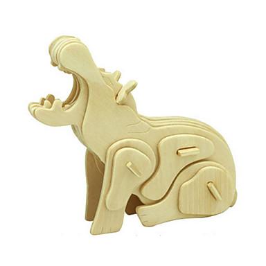 voordelige 3D-puzzels-3D-puzzels Legpuzzel Houten modellen Nijlpaard DHZ Puinen Klassiek Kinderen Unisex Jongens Meisjes Speeltjes Geschenk