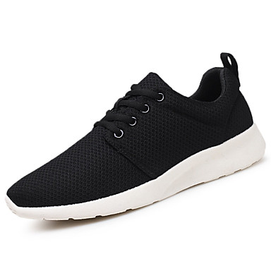 Homens sapatos Tule Verão Conforto Tênis Caminhada Cadarço para Casual Preto