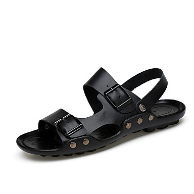 Unisexo Sapatos Pele Pele Napa Primavera Verão Conforto Sandálias Água para Social Preto