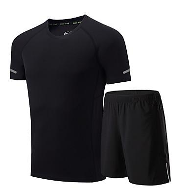 Herre T-skjorte og shorts til jogging Kortermet Fukt Wicking Fort Tørring Pustende Klessett til Løper Trening & Fitness Løstsittende Svart