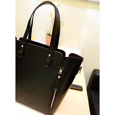 Women Shoulder Bag PU All Seasons Casual Outdoor Barrel Zipper Black