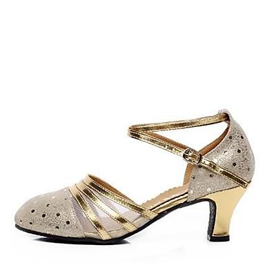 Damen Modern Leder Sandalen Im Freien Verschlussschnalle Blockabsatz Gold Silber 5 - 6,8 cm