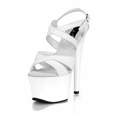 Chaussures Polyuréthane 06138317 formelles Eté Femme Noir Blanc Chaussures ouvert Bout Sandales Boucle Talon Aiguille Lacet gqH5wtwFc