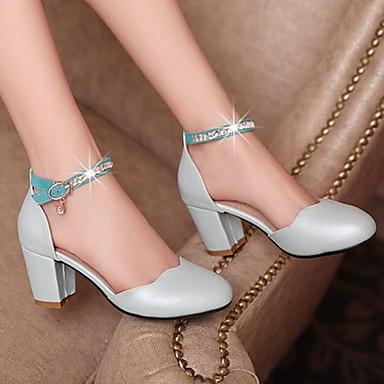 Damen Schuhe Nubukleder PU Frühling Sommer Komfort Sandalen Blockabsatz Für Normal Weiß Blau Leicht Rosa