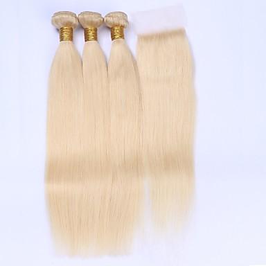 Brazil haj Egyenes Emberi haj sző 4 darab Hair Vetülék, zárral
