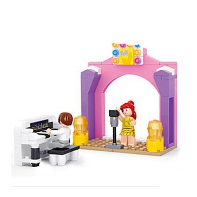 baratos Brinquedos de Montar-Blocos de Construir Bonecos em Blocos de Montar Brinquedos de Faz de Conta Castelo Piano Casa Animais Para Meninas Brinquedos Dom
