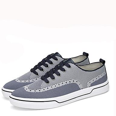 Herrn Schuhe Tüll Frühling Herbst Komfort Sneakers Walking Schnürsenkel für Normal Schwarz Blau