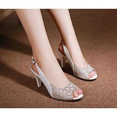 Damen Sandalen Komfort Sommer Leder Normal Weiß Schwarz 5 - 7 cm