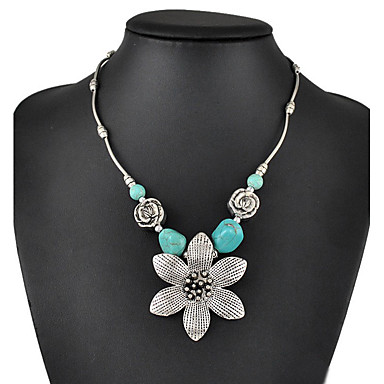 Women's Turquoise Pendant Necklace / Statement Necklace - Turquoise Drop, Flower Personalized, Luxury, Classic Turquoise Necklace Jewelry For Christmas, Wedding, Party