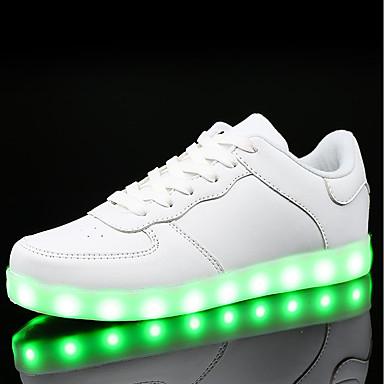 Damen Schuhe PU Frühling Herbst Komfort Sneakers Flacher Absatz Runde Zehe Schnürsenkel LED Für Normal Weiß Schwarz