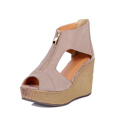 Damen Schuhe Nubukleder Sommer Herbst Neuheit High Heels Walking Keilabsatz Peep Toe Kette für Kleid Schwarz Mandelfarben