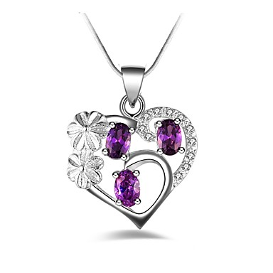 Women's Synthetic Diamond Pendant Necklace - Heart Personalized, Classic, Fashion Purple Necklace Jewelry For Party, Birthday, Gift