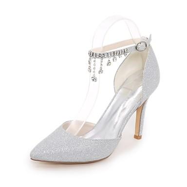 Női Cipő Glitter Tavasz Nyár Magasított talpú Esküvői cipők Tűsarok Erősített lábujj Strasszkő Glitter mert Esküvő Party és Estélyi Arany