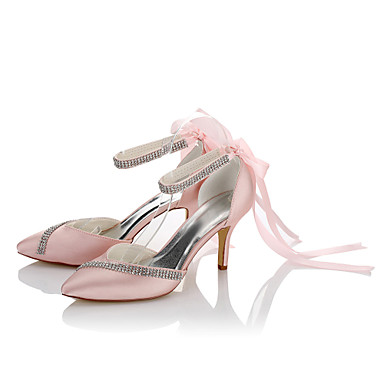 Women's Satin Fall / Winter Basic Pump Heels Stiletto Heel Pointed Toe Ribbon Tie / Chain Screen Color / Wedding / Party & Evening