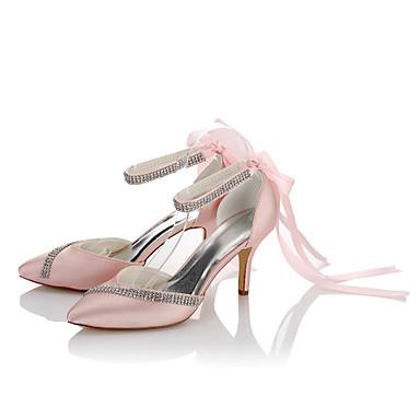 Damen Schuhe Satin Herbst / Winter Pumps High Heels Stöckelabsatz Spitze Zehe Band-Bindung / Kette Farbbildschirm / Hochzeit