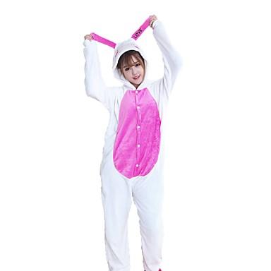 Adults' Kigurumi Pajamas Rabbit Bunny Onesie Pajamas Costume Flannel Fabric White Cosplay For Animal Sleepwear Cartoon Halloween Festival / Holiday / Christmas