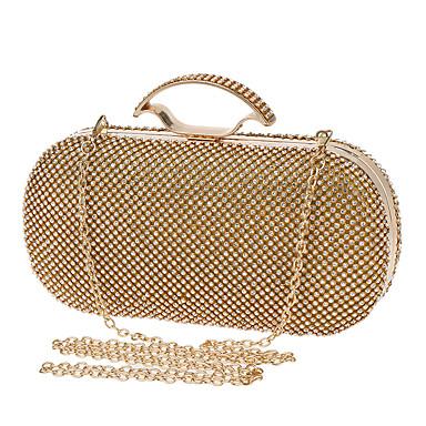 Női Táskák Poliészter Estélyi táska Strasszkő mert Esküvő / Party / Előírásos Arany / Fekete / Ezüst