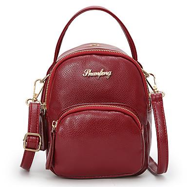 للجنسين أكياس PU حقيبة الكتف إلى فضفاض كل الفصول أسود أحمر