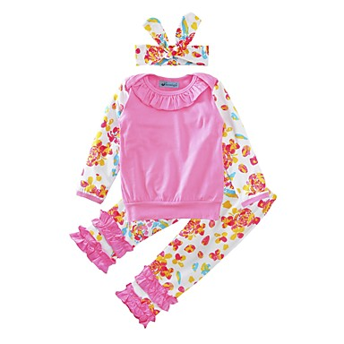 Baby Girls' Floral Casual / Daily Print / Bowknot / Floral / Botanical Long Sleeve Cotton Clothing Set / Toddler