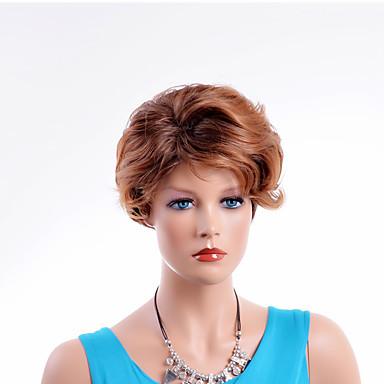 Synthetische Perücken Wellen Braun Damen Kappenlos Natürliche Perücke Kurz Synthetische Haare
